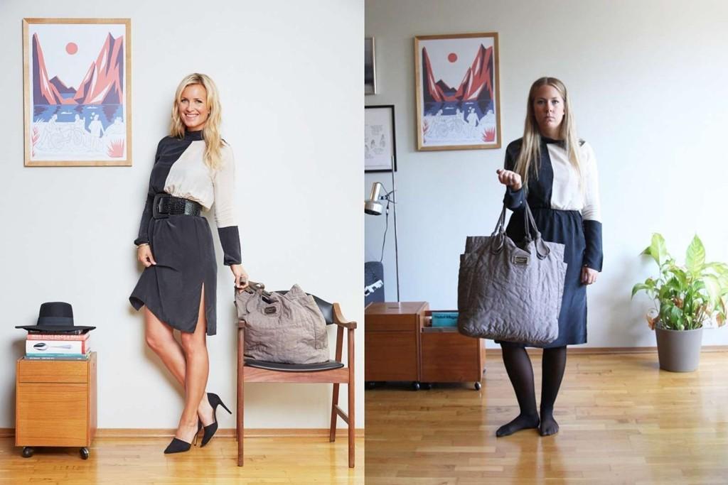 KJOLESALG: Modell til venstre, Benedicte til høyre. Nå er kjolen til salgs.