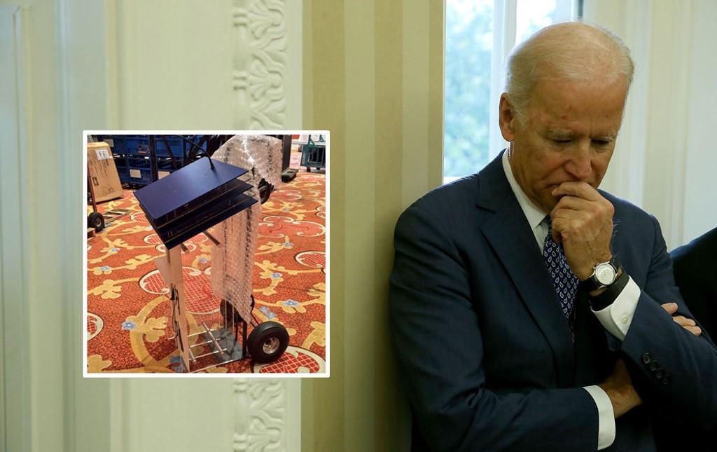 LEDIG PLASS: Arrangørene av debatten i Las Vegas natt til onsdag (norsk tid) har gjort klart en talerstol til Joe Biden.