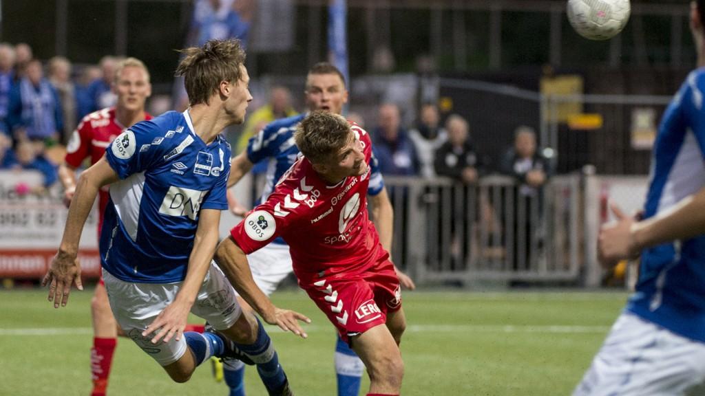 Bildet er fra kampen mellom Ranheim og Brann tidligere i høst. Ranheims Daniel Kvande i duell med Branns Steffen Lie Skålevik.