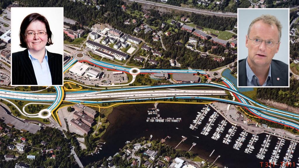 FORTVILER: Den nye E18 Vestkorridoren er planlagt i flere år, men nå vil det nye Oslo-byrådet med Raymond Johansen (Ap, innfelt) stanse hele utbyggingen. Fylkesordfører Anette Solli (H, innfelt) i Akershus fortviler.