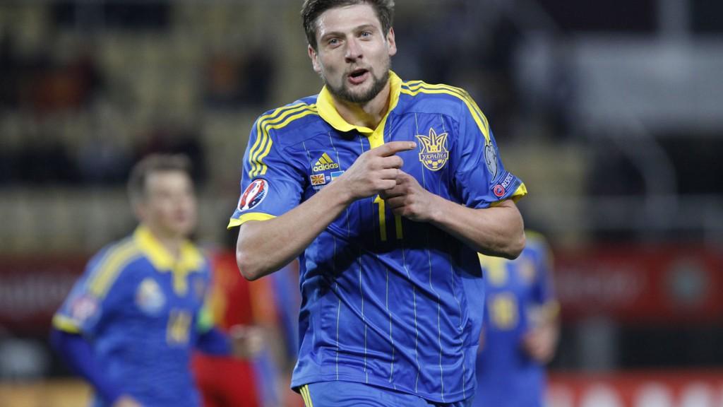Yevhen Seleznyov jubler etter å ha scoret mål for Ukraina borte mot Makedonia 9. oktober i år.