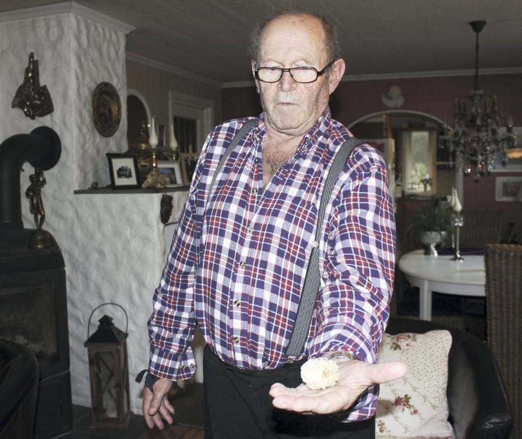Helge Vikøyr kan prise seg lykkelig for at nyresteinen ikke tok den vanlige veien ut gjennom urinveiene. – Det går ikke an å beskrive smerten, sier 77-åringen.
