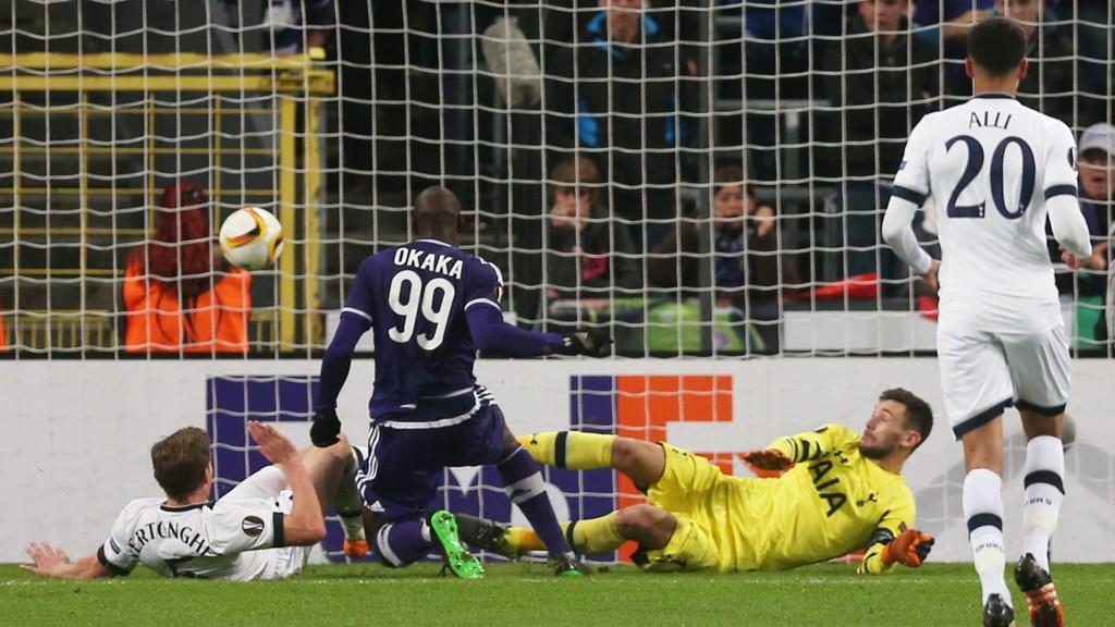 VANT: Her sørger Stefano Okaka for at Anderlecht vant 2-1 mot Tottenham.