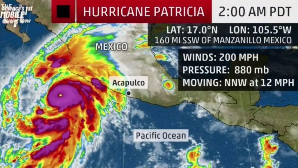 STORMEN PATRICIA er den kraftigste noensinne på den vestlige halvkulen med vinder på 320 kilometer i timen og et trykk på 880 millibar.