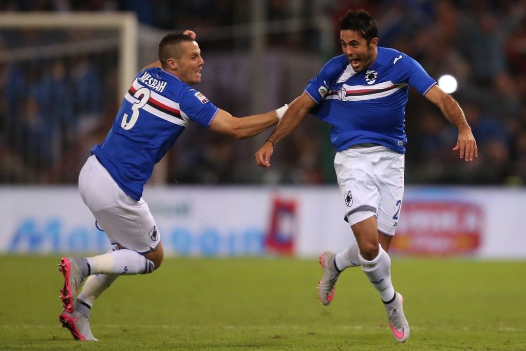 MÅLTYV: Eder (til høyre) har utviklet seg til å bli en rett og slett komplett spiss for Sampdoria og Italia. Til venstre er backen Djamel Mesbah.