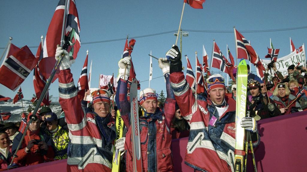 BRONSE: Harald Christian Strand Nilsen (t.v.) tok bronse i kombinasjonen under OL på Lillehammer.