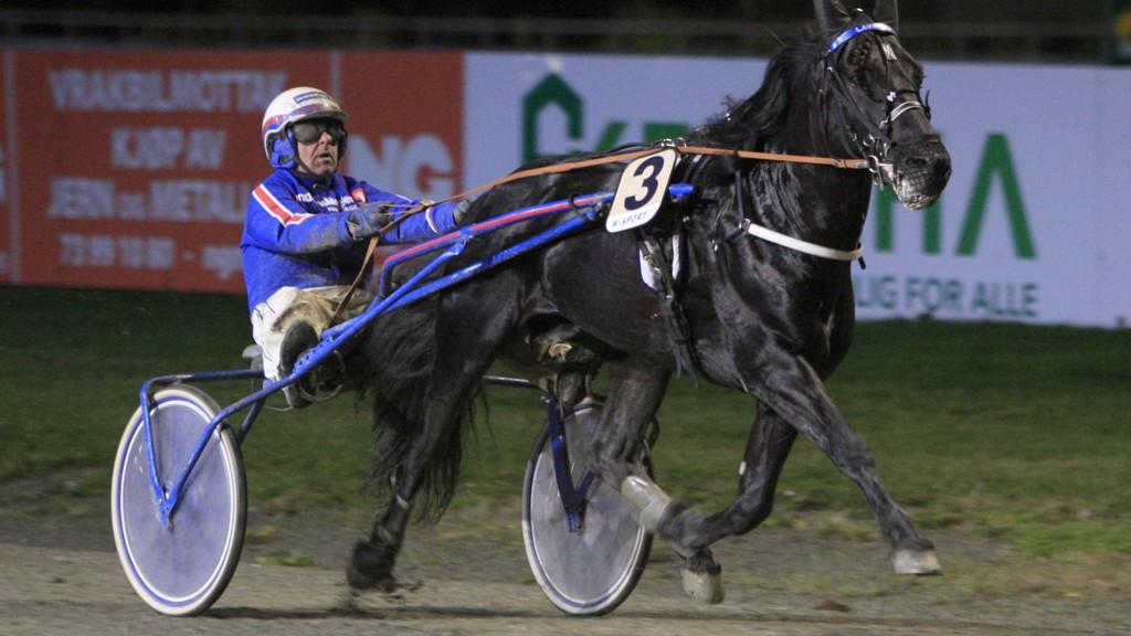 Jomar Blekkan og Lavrans vinner løp sju på Leangen 26. oktober. Foto: HM.Auran/hesteguiden.com