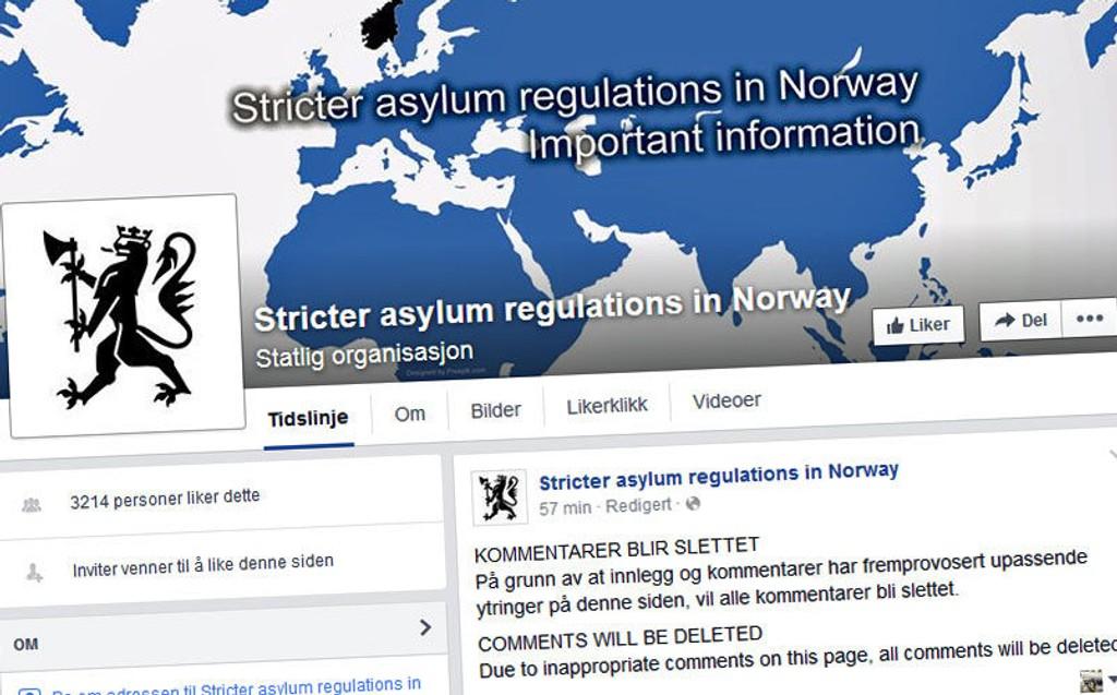MÅTTE STENGE: Justisdepartementet klarte ikke å ta unna alle reaksjonene i kommentarfeltet på Facebook.