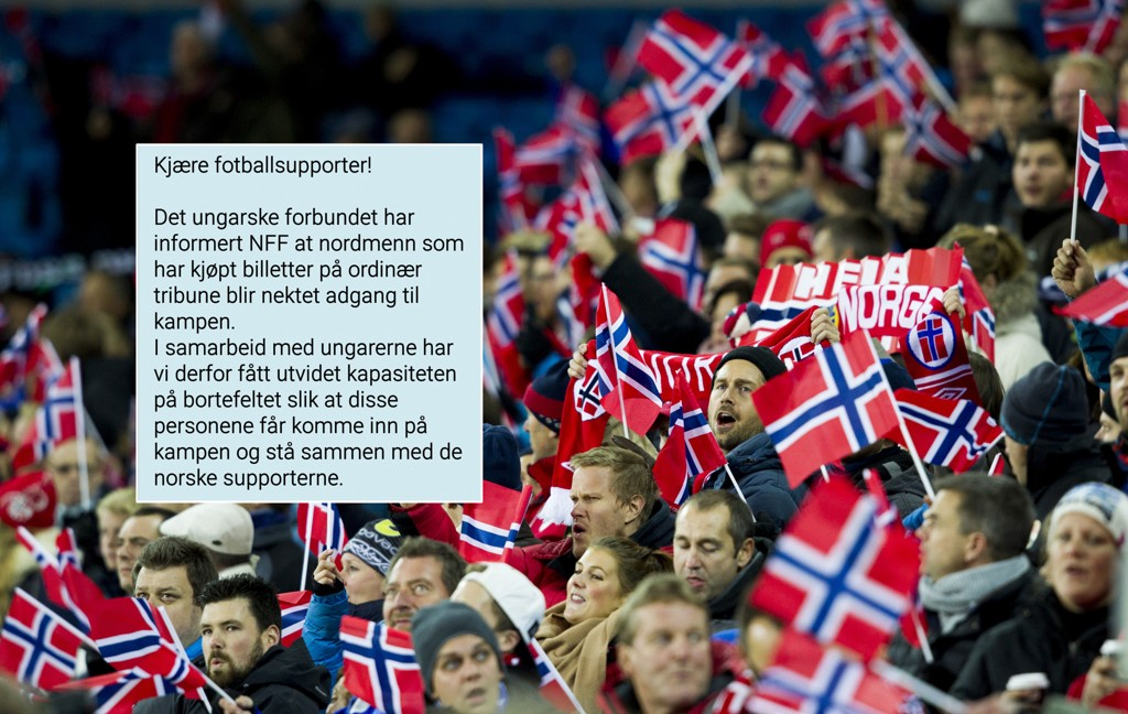 NFF kunne sende denne gladmeldingen ut til 180 norske supportere onsdag ettermiddag.
