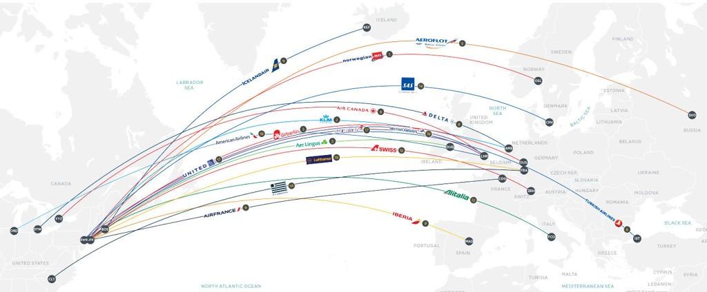 20 SELSKAPER: Undersøkelsen er gjort blant 20 flyselskaper som flyr mellom Europa og Nord-Amerika.