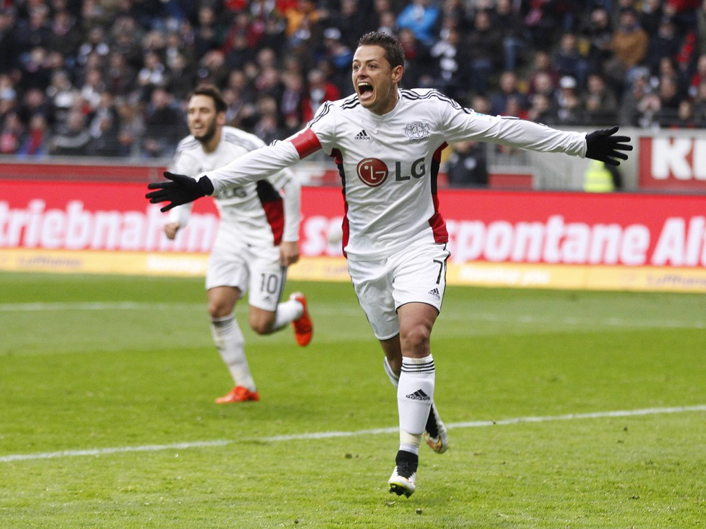 GOOOOL: Bayer Leverkusen har virkelig nytt godt av låneavtalen til Manchester United-spiss Javier Hernandez.