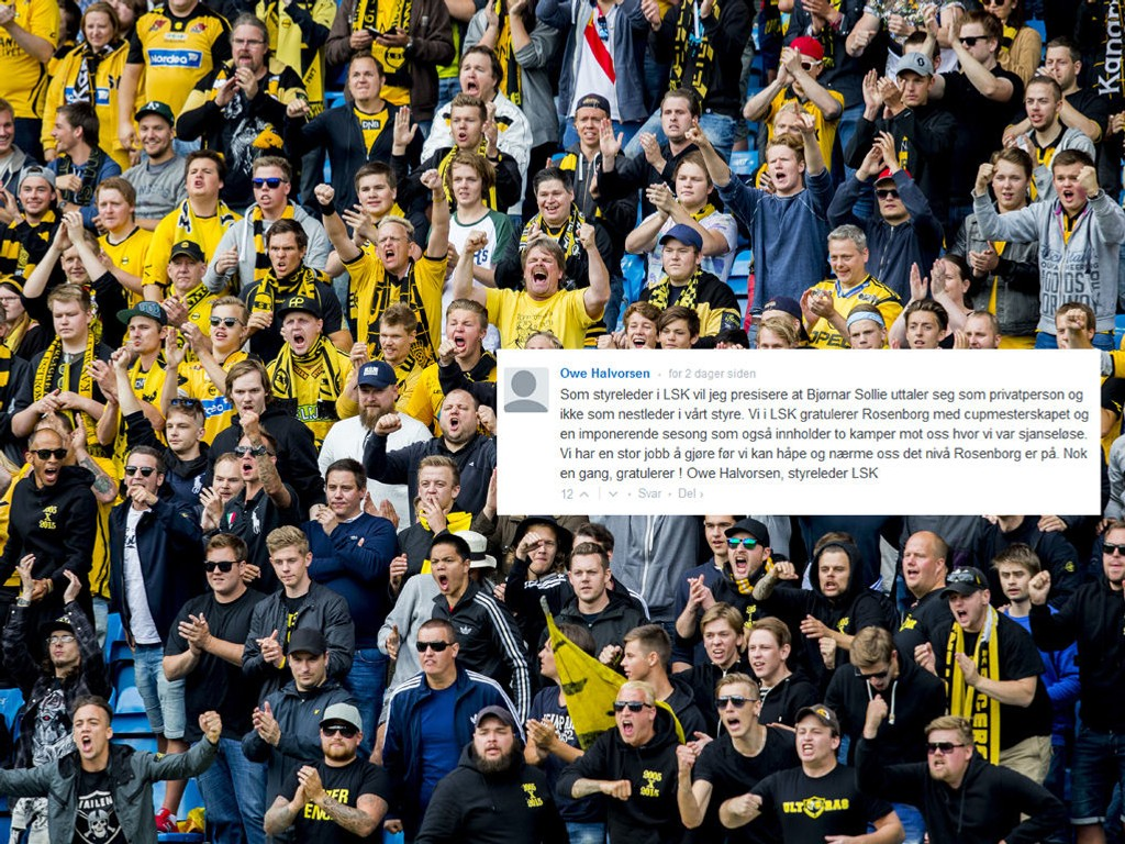 FLAU: LSK-fansens leder mener styreleder Owe Halvorsen får klubben til å framstå som fryktelig veike. Halvorsens kommentar til nestlederens kritkk av Rosenborg er montert på bildet, som er fra LSKs bortekamp mot Vålerenga i sommer.
