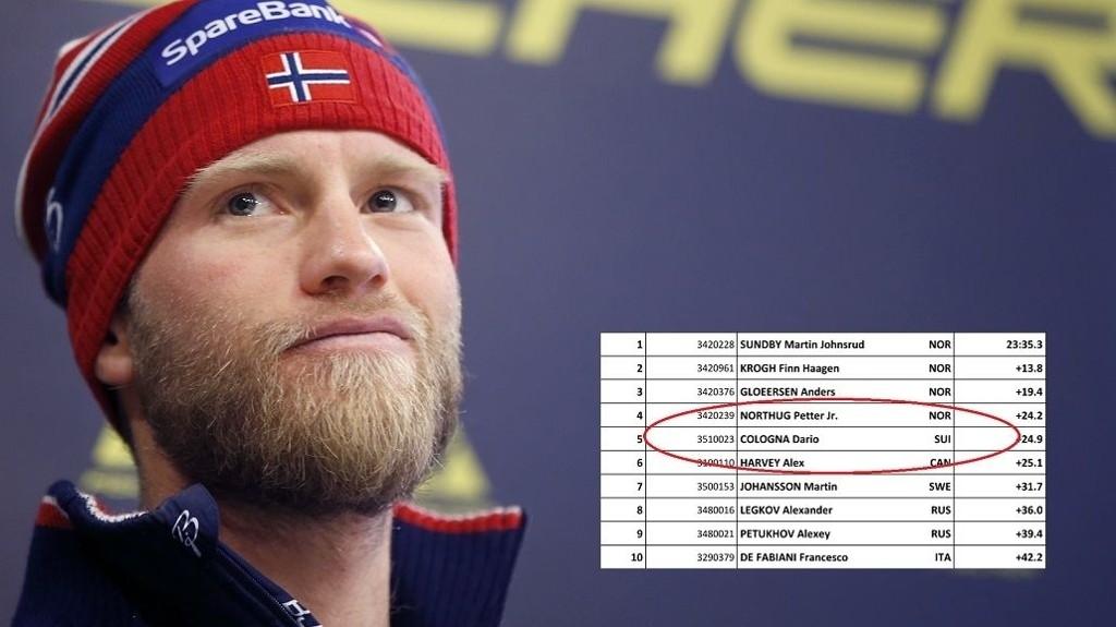 JAKTES: Martin Johnsrud Sundby gliste da han fikk vite at Dario Cologna, Petter Northug og Alex Harvey tar opp jakten på ham sammen søndag. Trioen går ut 25 sekunder bak Johnsrud Sundby på jaktstarten.