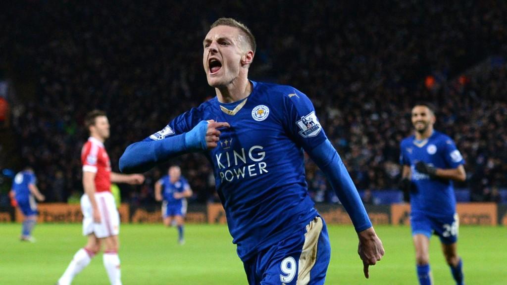 REKORDMANNEN: Jamie Vardy scoret i sine elleve Premier League på rad, men United og Leicester spilte 1-1.