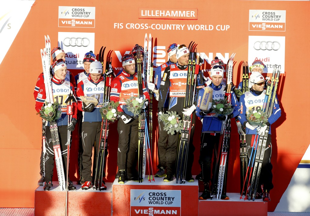 PALLEN: Tolv norske langrennsløpere kunne finne veien til pallen etter søndagens stafett.