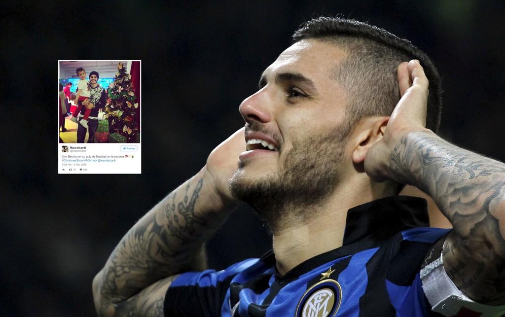 RANET: Mauro Icardi ble ranet etter å ha lagt ut dette bildet på Twitter.