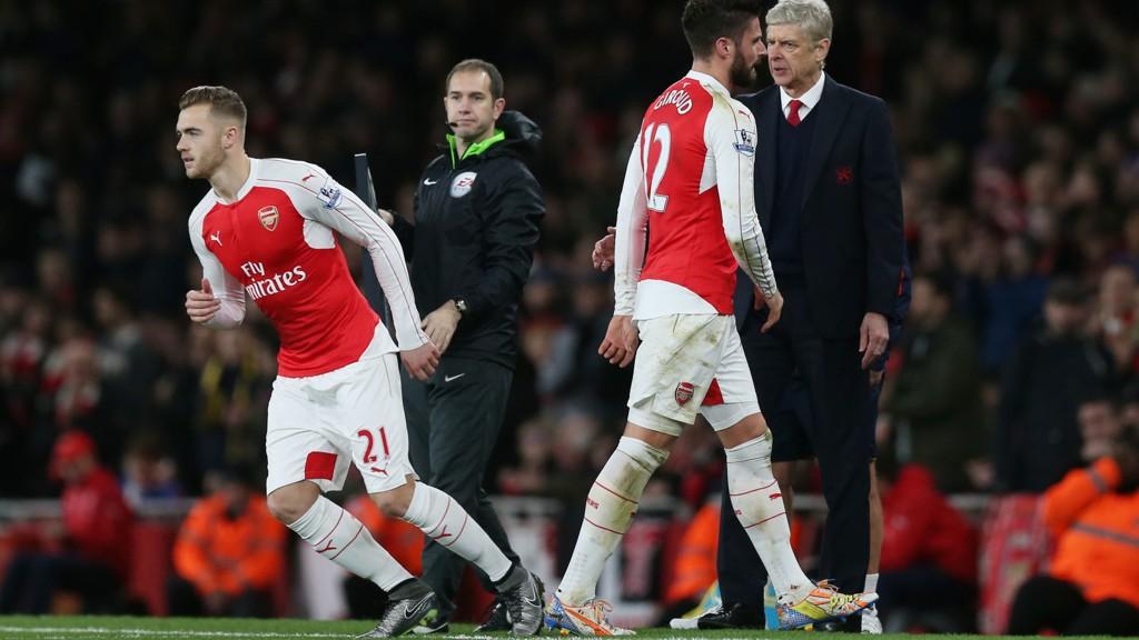 Olivier Giroud byttes ut i helgens 3-1-seier mot Sunderland. Manager Arsène Wenger må sette sin lit til ham igjen i den avgjørende mesterligakampen mot Olympiakos.