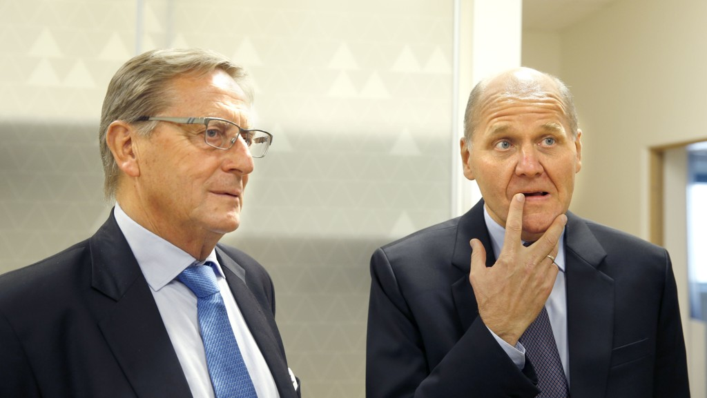 Svein Aaser (til venstre) var styreleder da Sigve Brekke (til høyre) ble ansatt som konsernsjef i Telenor tidligere i år.