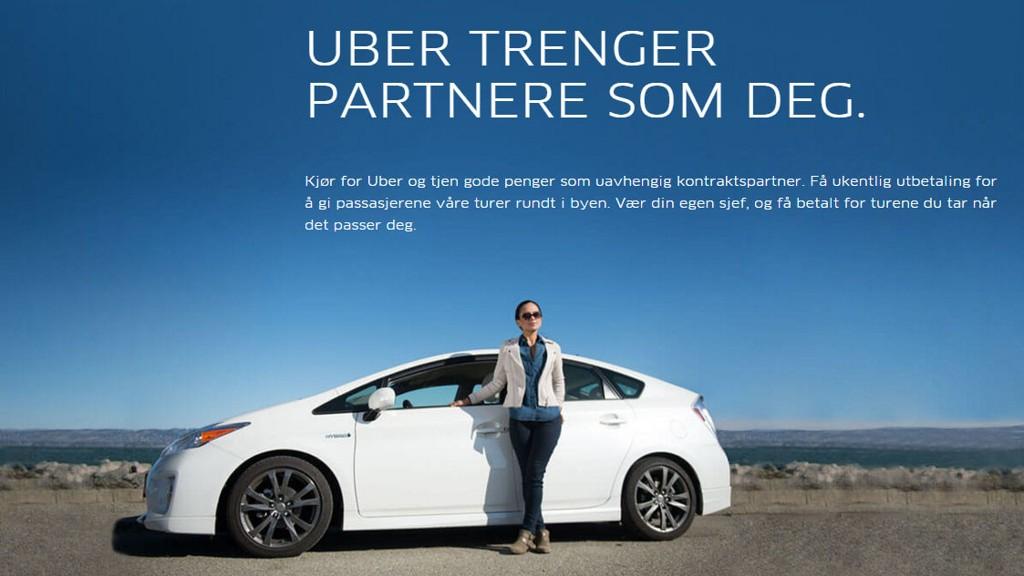 Slik reklamerer Uber i Norge - selskapet er ute etter folk som vil kjøre for selskapet og tjene gode penger som uavhengig kontraktspartner.
