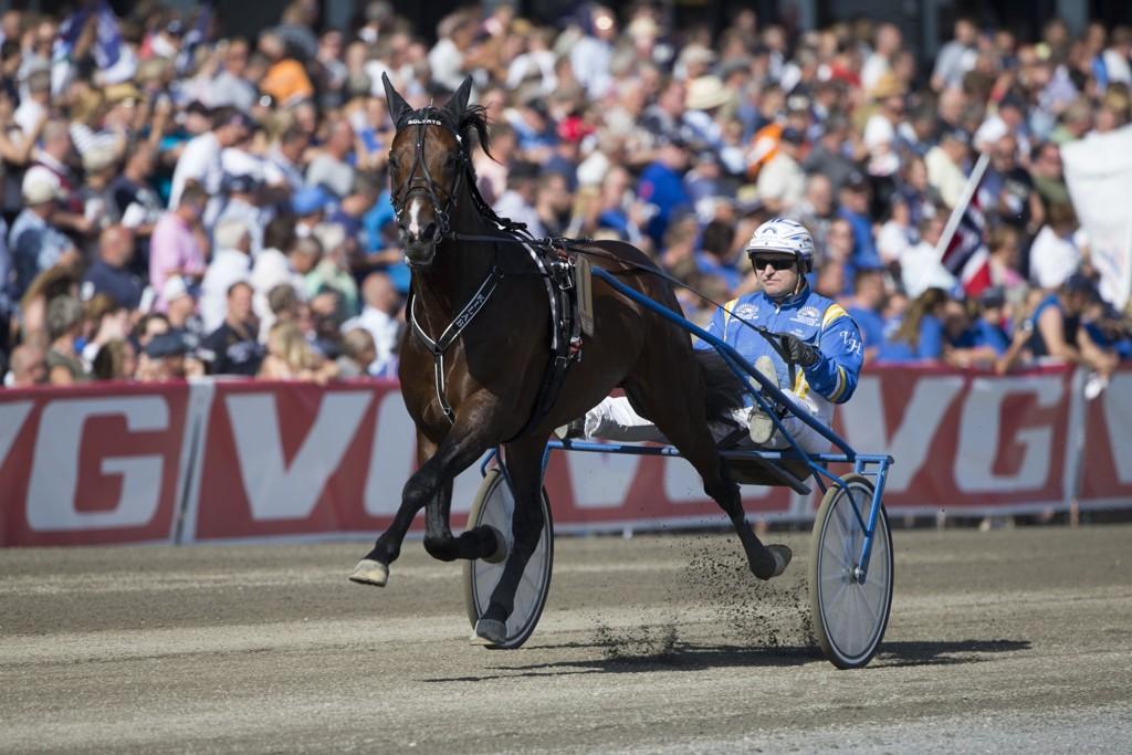 Veijo Heiskanen kjører vår banker på Åby torsdag. foto_Roger Svalsr¿d_hesteguiden.com