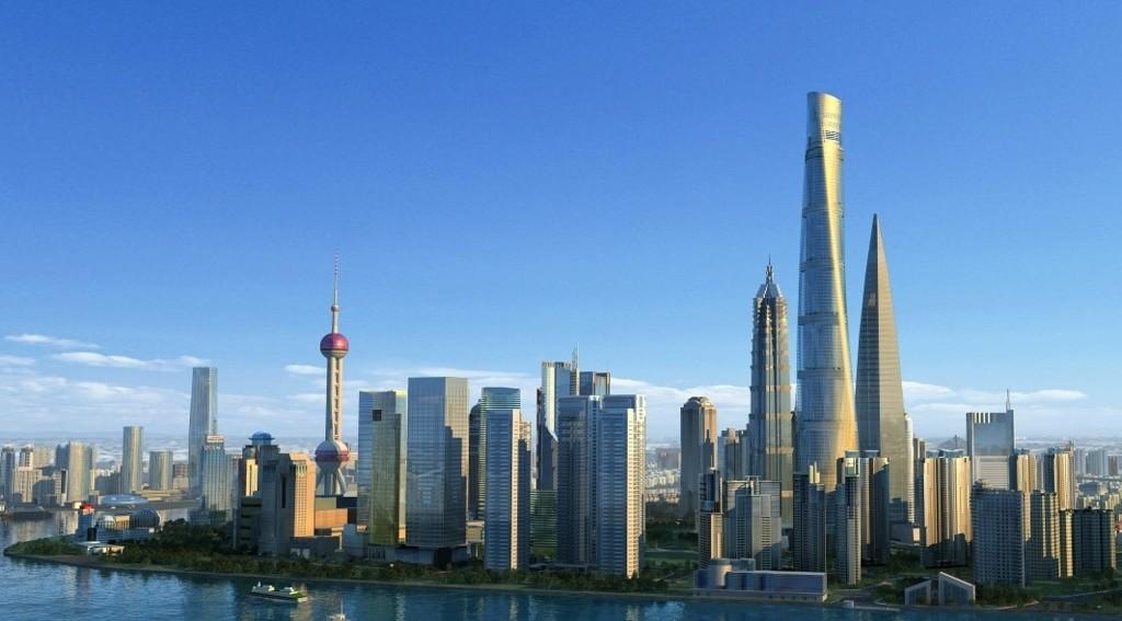 Shanghais nye skyline etter at Shanghai Tower ble ferdigstilt i 2014.