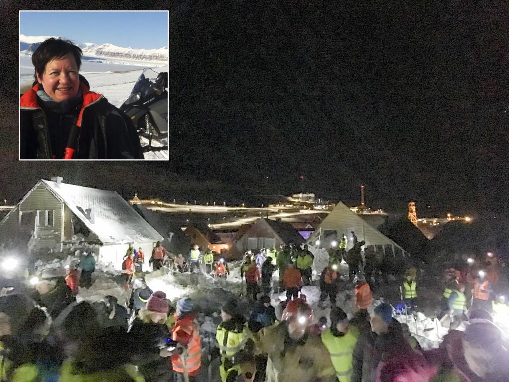 DRAMA: Hjelpemannskaper jobber i området der et snøskredet har truffet flere hus i Longyearbyen. Eva Grøndal (innfelt) bor i ett av husene som ble tatt av skredet.