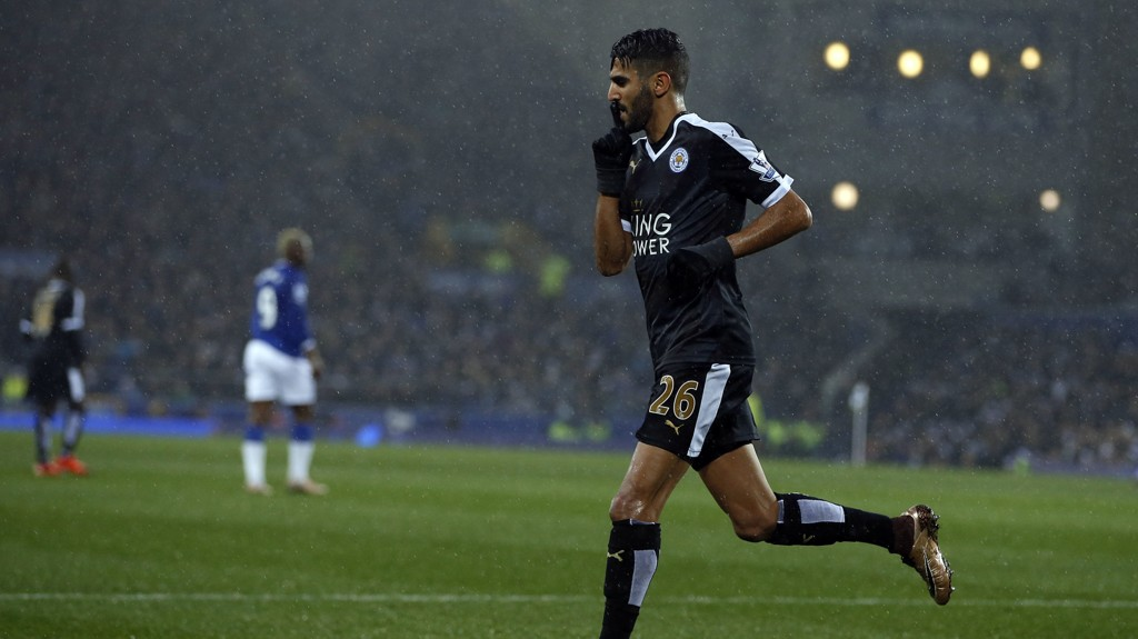 Leicester City's Riyad Mahrez celebrates scoring his sides opening goal against Everton during the Barclays Premier League match at Goodison Park, Liverpool.