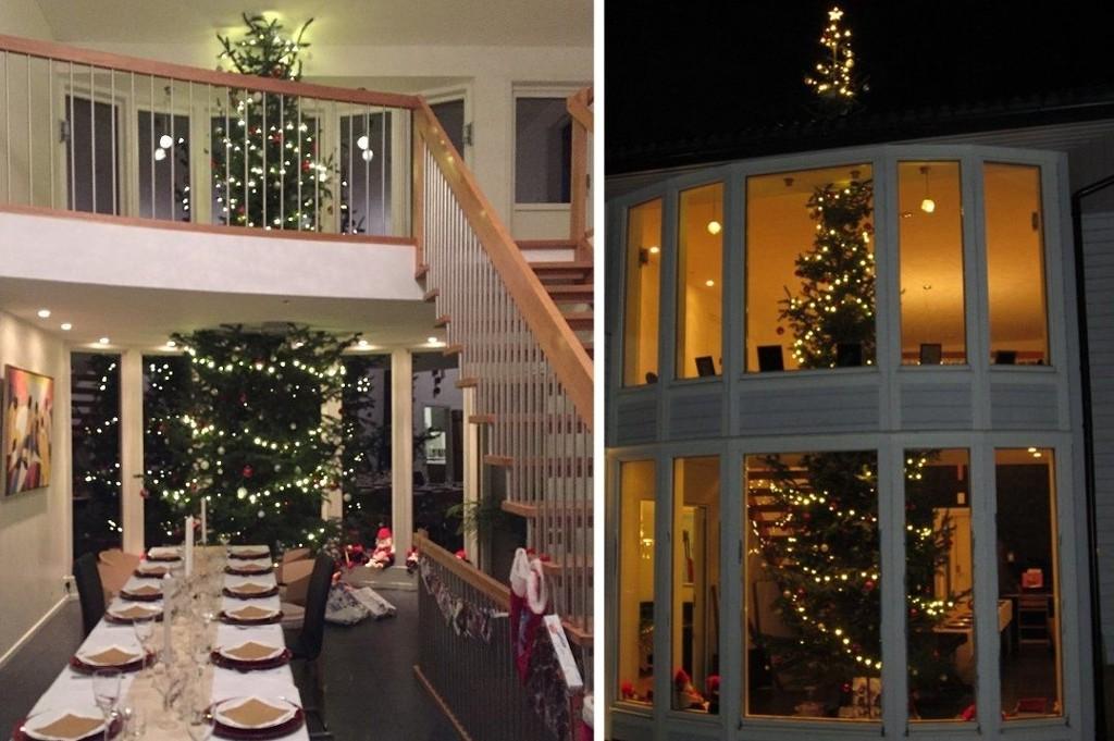 Eneste utfordringen med juletreet er at julestjernen befinner seg på utsiden av huset, forteller Jan-Henrik Joys.