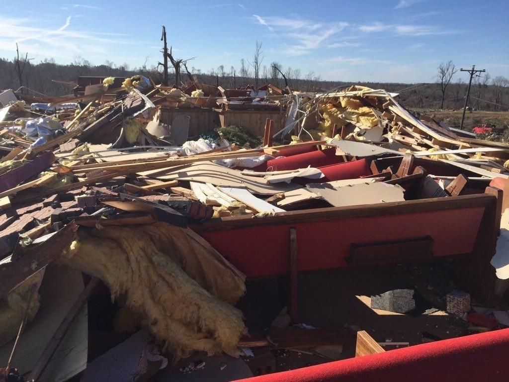 Deprimerende syn i Holly Springs i Mississippi etter tornadoens herjinger.