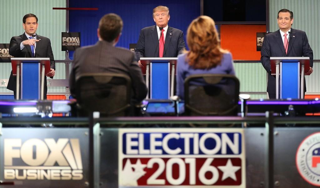 VALGKAMPEN I USA er i full gang. Her ser vi Marco Rubio (til venstre), Donald Trump (i midten) og Ted Cruz (til høyre) under den Fox Business-sendte debatten i Charleston i Sør-Carolina 14. januar.