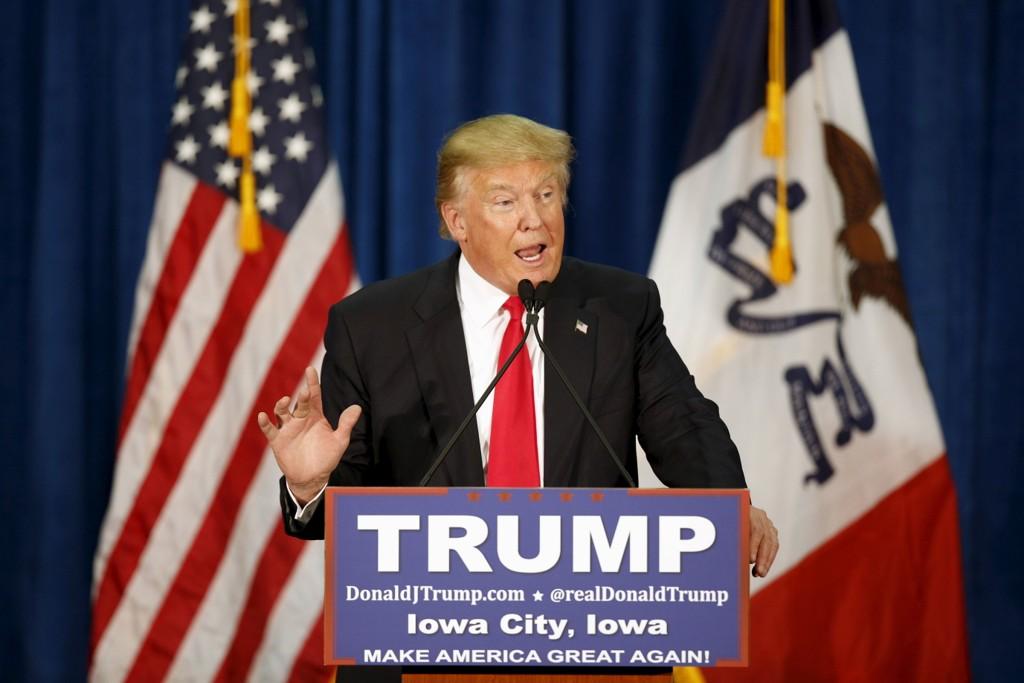 LEDER MENINGSMÅLINGENE: Donald Trump kjemper hardt mot Ted Cruz i Iowa, men ser ut til å vinne komfortabelt i New Hampshire.