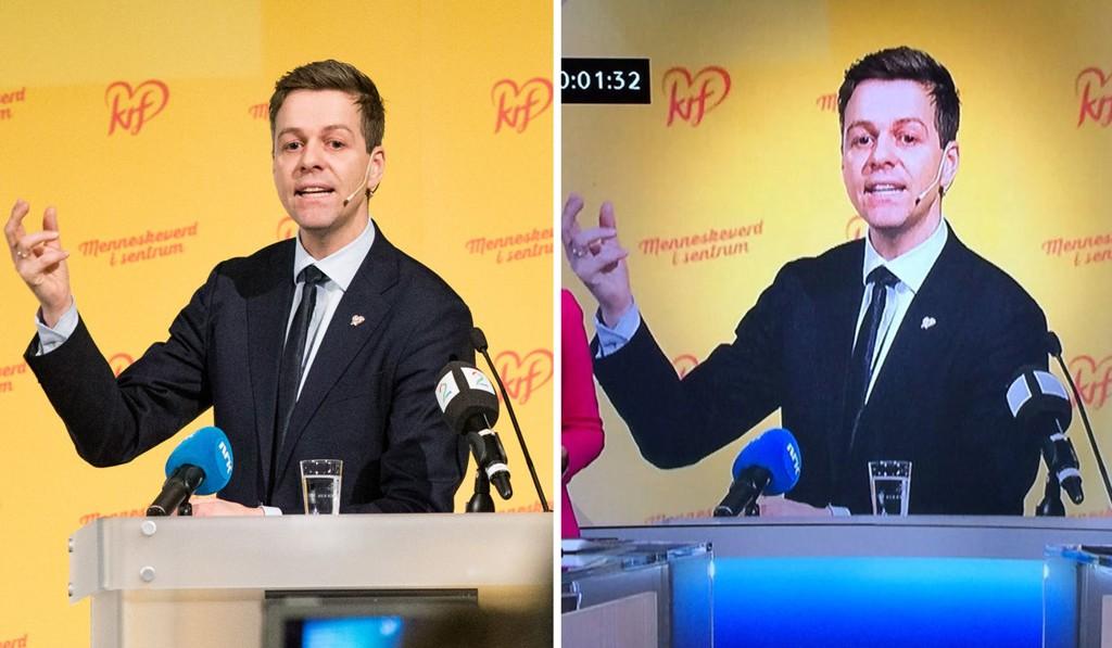 NTB scanpix' frilansfotograf Audun Braastad la merke til at Dagsrevyen hadde fjernet TV 2-logoen fra bildet hans av KrF-leder Knut Arild Hareide som ble vist under kveldens sending. Til venstre sees originalbildet og til høyre er en skjermdump fra sendingen.