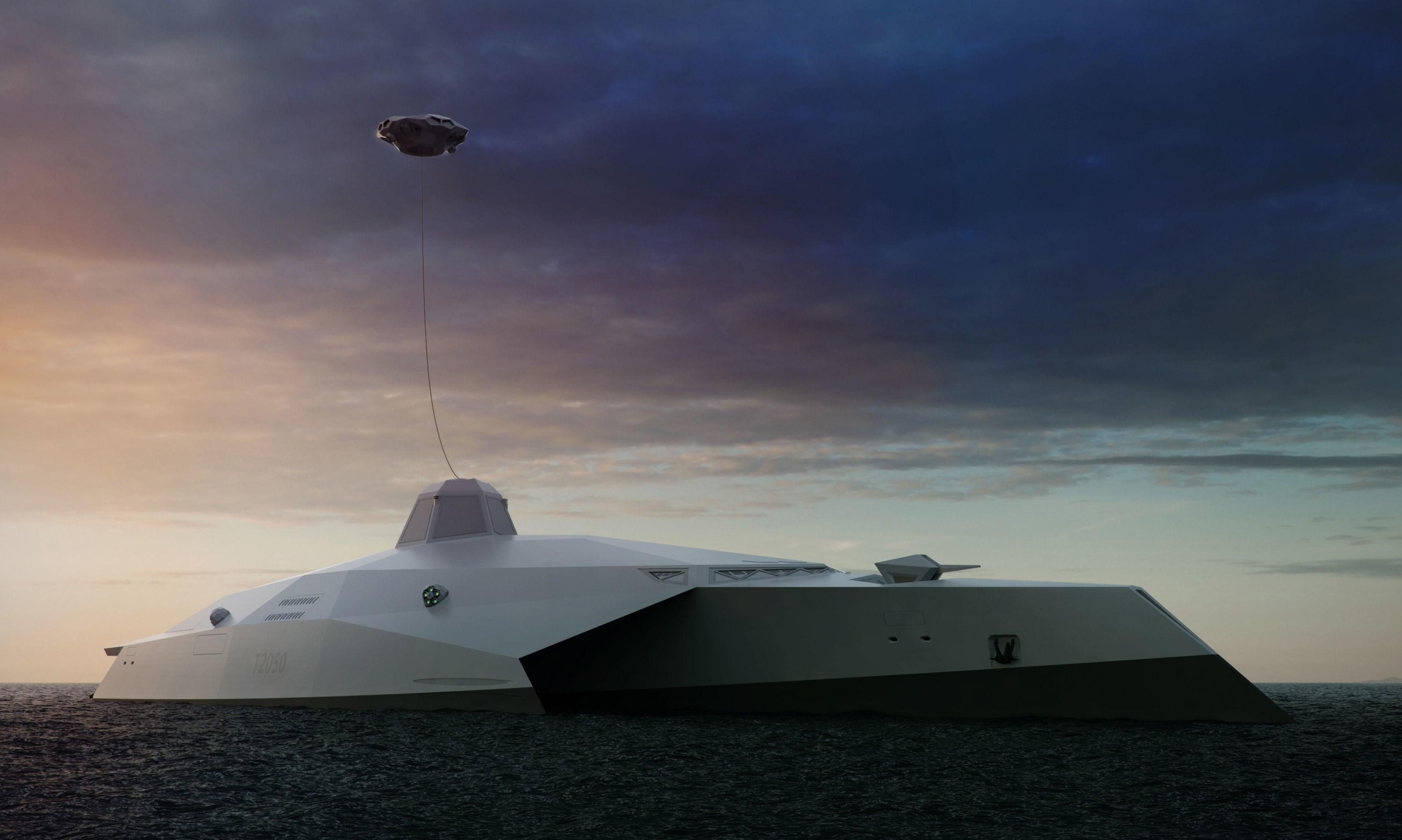 DREADNOUGHT 2015: Her er britenes futuristiske stealthkrigsskip. Svevende høyt over skipet henger en slags fastmontert drone, et quadcopter som får kontinuerlig energi via en kabel. Quadcopteret skal fungere som et slags moderne utkikkstårn, og skal etter planen også utstyres med laser for å kunne skyte ned missiler eller andre trusler som kommer for nære.
