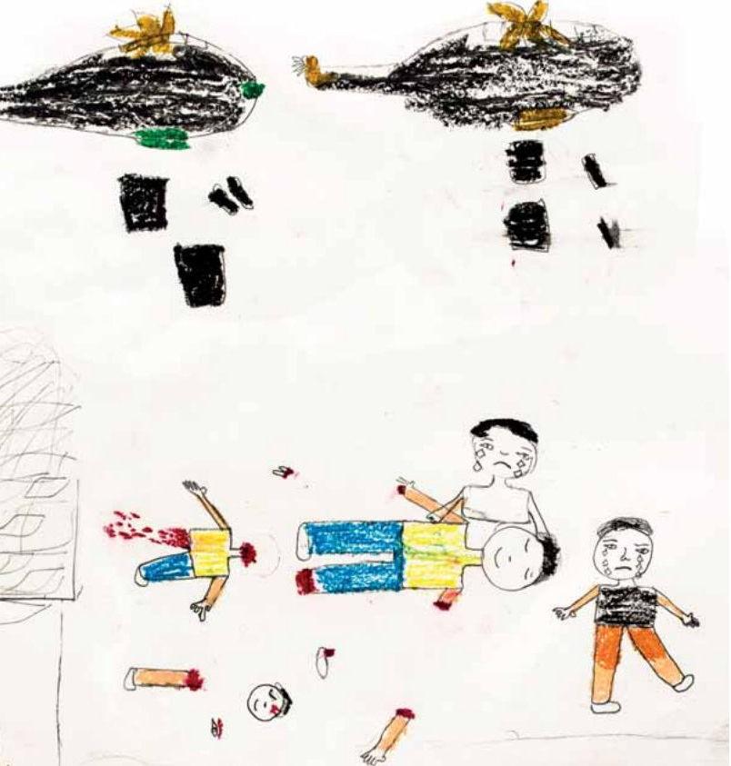 En tegning som ifølge Flykningehjelpen er laget av en 13 år gammel syrisk jente.