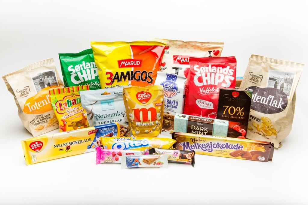 SØTT OG SALT: Vi har testet 18 ulike godteri- og snacksnyheter.