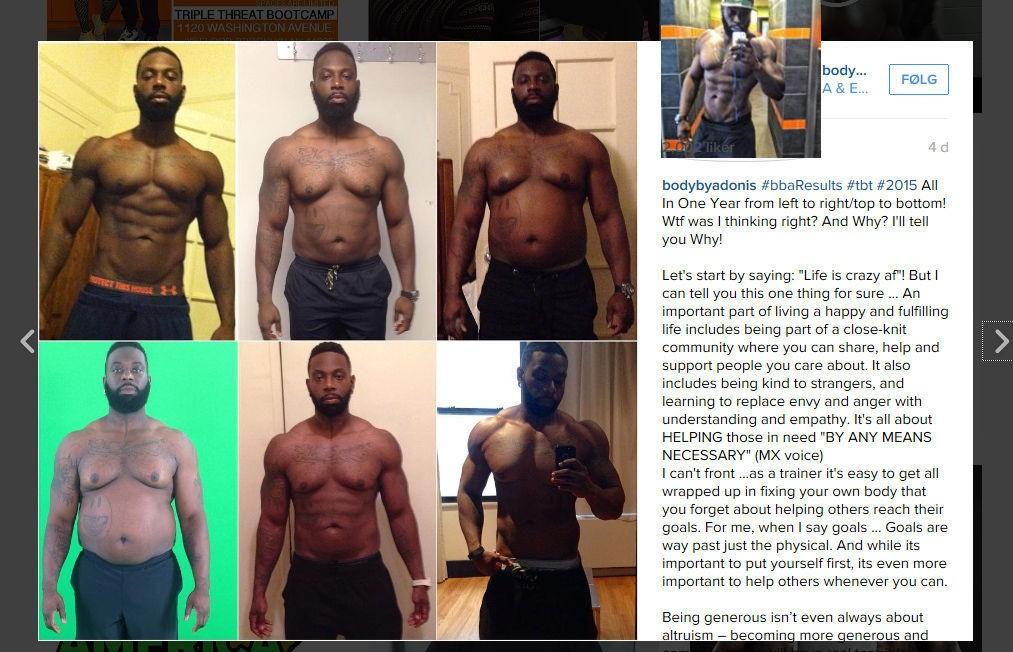 ADONIS HILL: Disse bildene av den personlige treneren Adonis Hill viser hvordan kroppen hans forandret seg gjennom et år. Øverst til høyre ser du hvordan han så ut før han la på seg 30 kilo. Nederst til venstre ser du hvordan han så ut etter å ha tatt av seg nesten alle kiloene igjen.