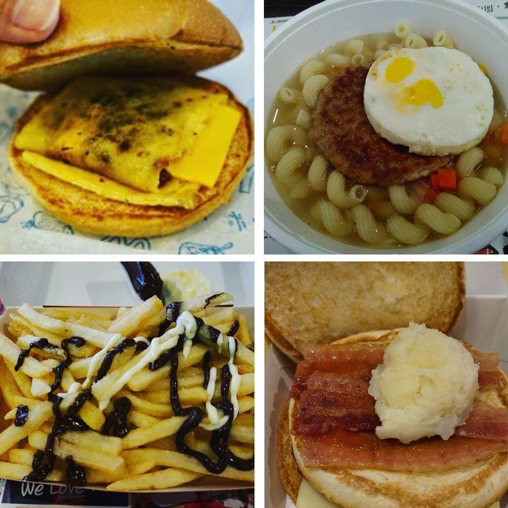 MCDONALDS VERDEN RUNDT: Hva med en burger med tørrfisk, eller en pastafrokostsuppe - eller pommes frites med sjokoladesaus, og en japansk variant med bacon og potetmos.