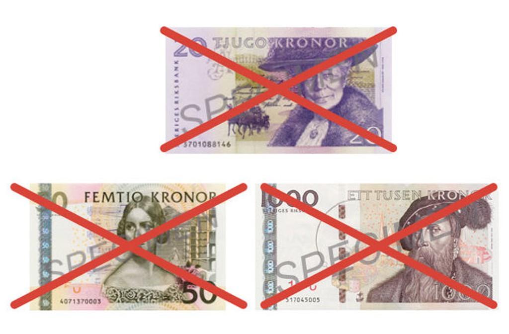 STORE UTSKIFTNINGER: Disse svenske sedlene er ugyldige etter 30. juni i år. Illustrasjon: Sveriges Riksbank.