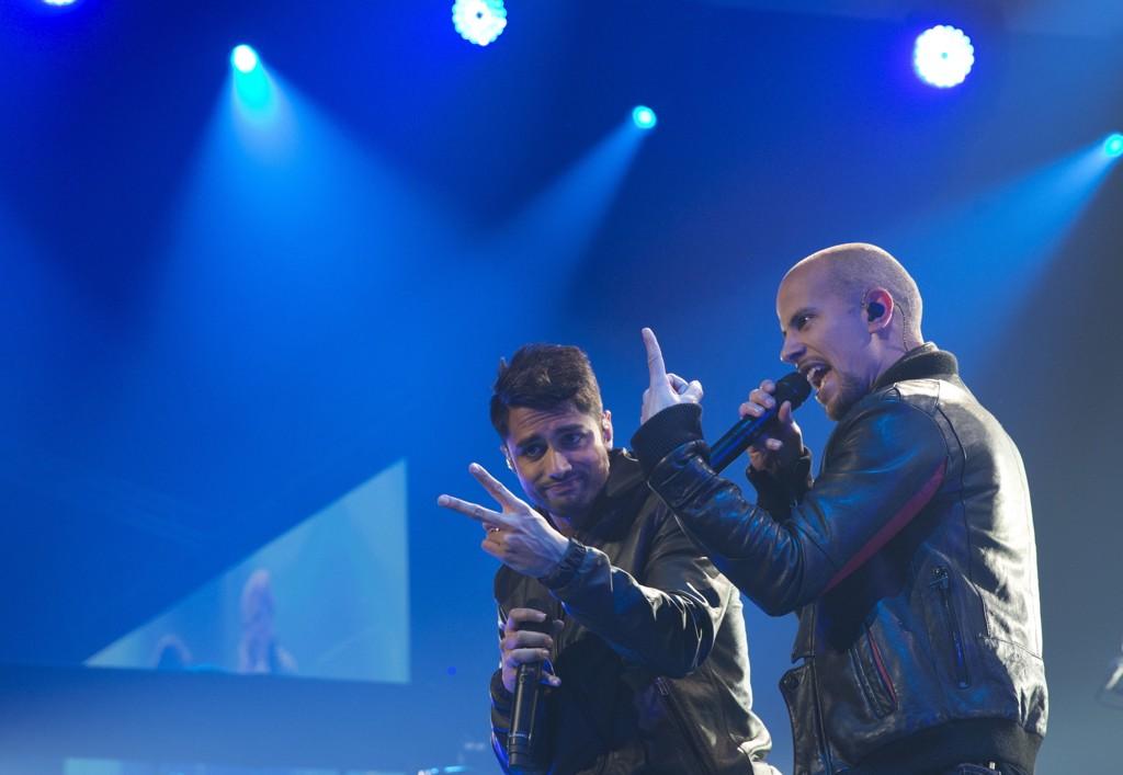 Karpe Diem måtte avbryte en konsert i Bergen lørdag kveld etter at noen tømte et pulverapparat mot publikum fra scenen. Her Magdi Omar Ytreeide Abdelmaguid (til venstre) og Chirag Rashmikant Patel i Oslo Spektrum i 2013.