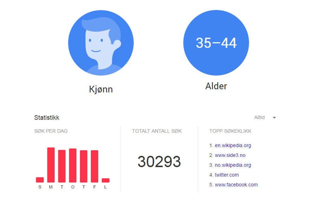 Underskrevne (mann, 39) bruker Google mye i jobbsammenheng. Det går tydelig fram av den komplette søkerhistorikken Google har lagret.