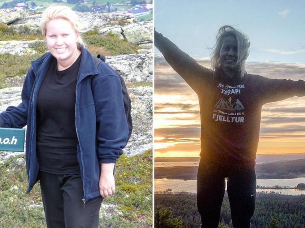 FØR OG NÅ: - Jeg hadde det bra før, men har det bedre nå, sier Kamilla. Hun la om livsstilen i 2011, og konkurrerer nå i styrkeløft.