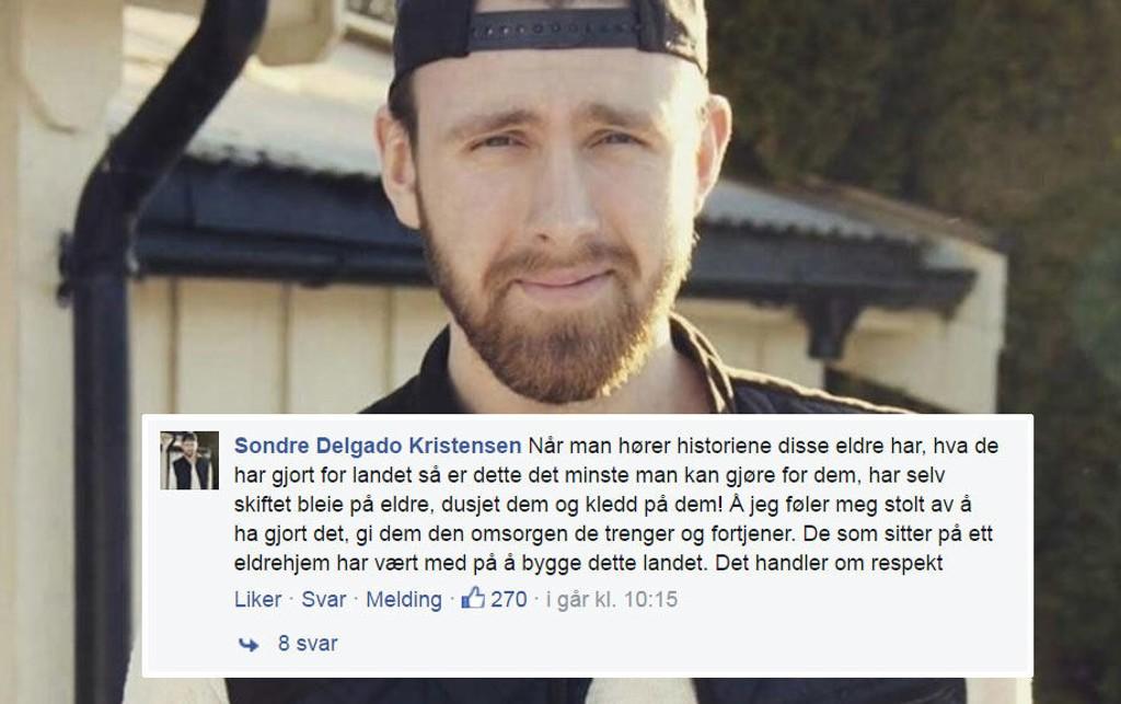 REAGERER: Sondre Delgado Kristensen reagerer på holdningene om eldre, og sier han selv er stolt over å ha skiftet bleier og dusjet eldre mennesker.