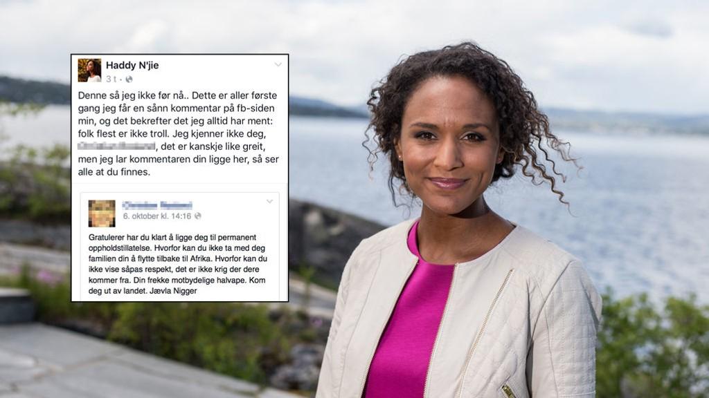 FIKK DOM: En mann i 30-årene er dømt til betinget fengselsstraff for å ha hetset NRK-profilen Haddy Njie på Facebook.