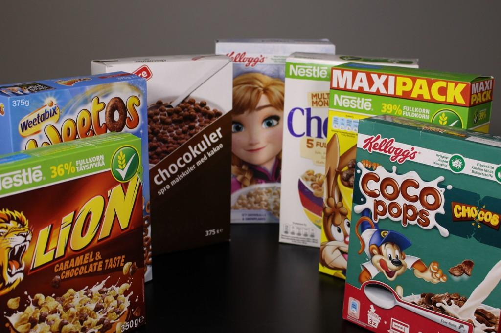 Dette er blant frokostblandingene som er rettet mot barn i vanlige matvareforretninger.