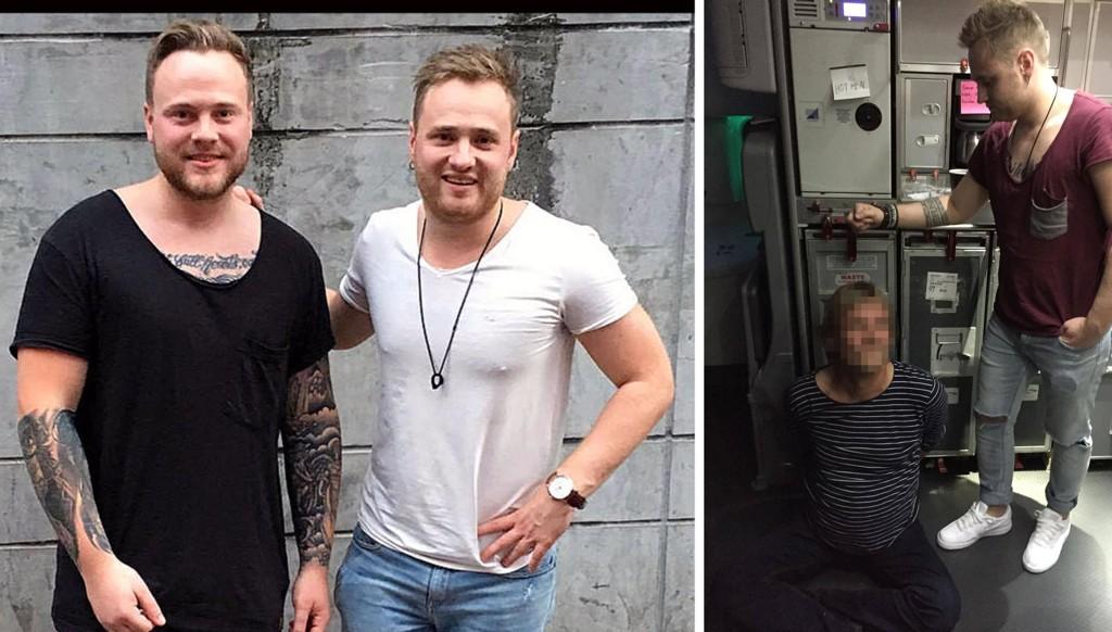 Marius Arnesen (t. v.) og Aleksander Arnesen pågrepet en beruset flypassasjer på et Norwegian-fly fra Oslo til Bangkok onsdag kveld norsk tid.