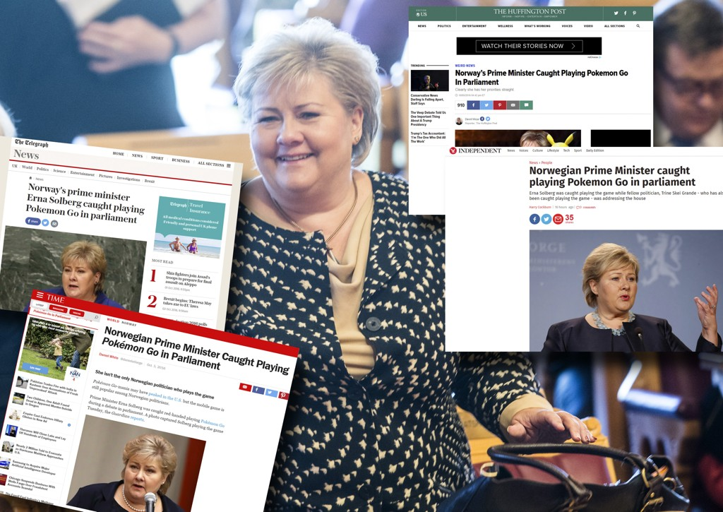 Statsminister Erna Solberg er stor fan av Pokémon Go, noe også utenlandske medier nå har fått med seg.