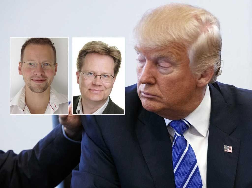 USA-kjenner Jan Arild Snoen sier lite kan få Trumps velgere til å endre mening. Retorikk-ekspert Trygve Svensson (til venstre) tror dette blir en anledning for flere republikanere til å hoppe av og trekke sin Trump-støtte.