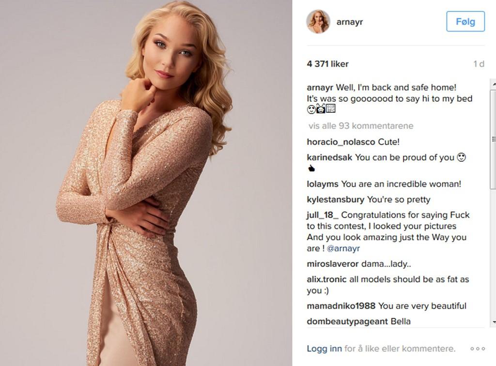 MISS ICELAND: Arna Yr Jonsdottir sluttet i skjønnhetskonkurransen med en gang da hun fikk beskjed om å gå ned i vekt.