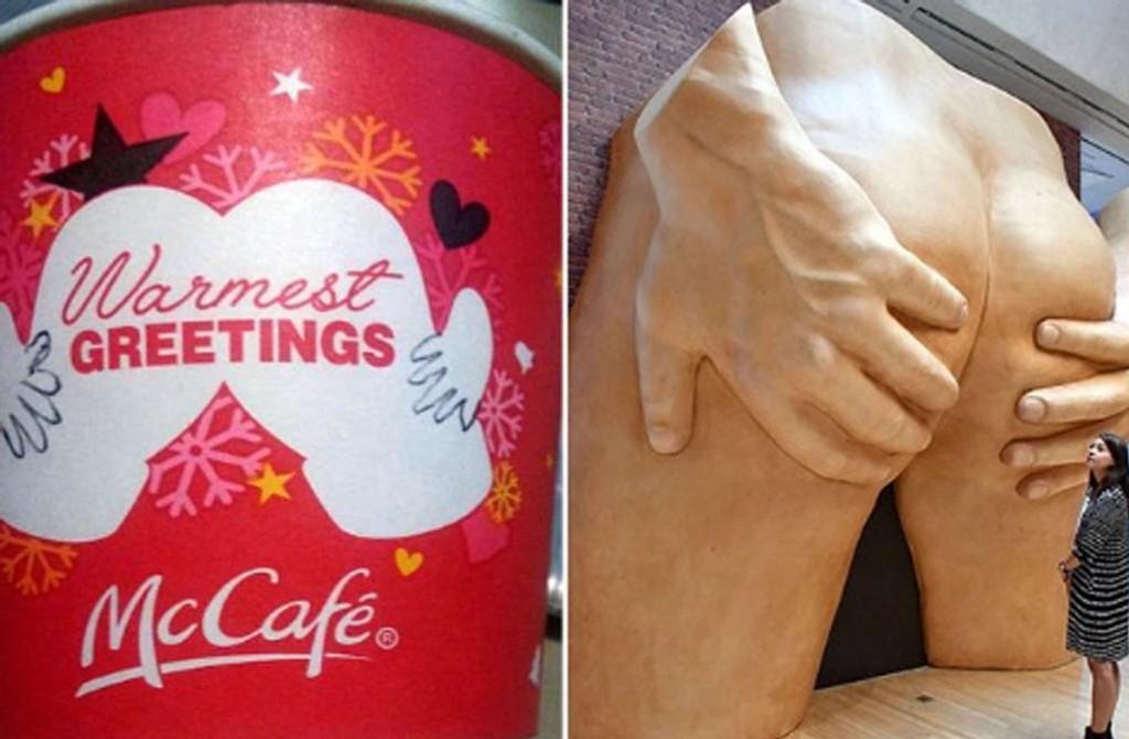 HMMM: Et par votter eller moderne kunst? McDonald's nye kaffebeger får gjennomgå.