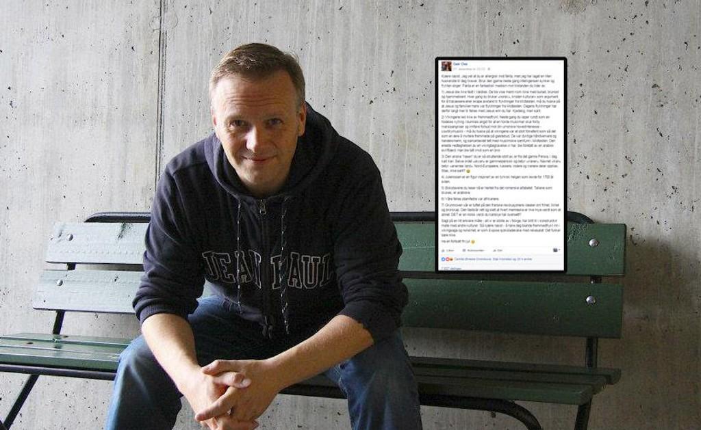 FAKTA: Geir Ove Kvalheim skrev et Facebook-innlegg der han informerte om hvor norske verdier og tradisjoner egentlig kommer fra. - Jeg ønsker å debattere på et saklig grunnlag, med en kunnskapsbase i bånn. Vi må skape en felles referanseramme for hva som er sant og ikke, og så kan vi diskutere derifra, sier Geir Ove.